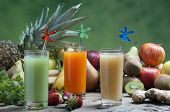 foto of fruit-juice  - mixed fruit on a wooden board ready for juices and juice - JPG
