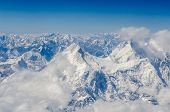 stock photo of mountain-range  - High range of Himalayas mountains in Tibet - JPG