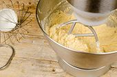 picture of food preparation tools equipment  - Food processor with beater tool preparing dough for a cake - JPG
