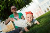 picture of crawling  - Mom doing yoga with your child - JPG