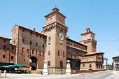 stock photo of castello brown  - The medieval Castle Estense  - JPG