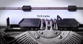 picture of old vintage typewriter  - Vintage inscription made by old typewriter private - JPG