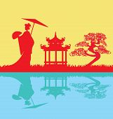 stock photo of geisha  - abstract landscape with Geisha silhouette  - JPG