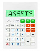 stock photo of asset  - Calculator with ASSETS on display on white background - JPG