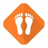 pic of flat-foot  - foot orange flat icon   - JPG
