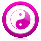 stock photo of ying-yang  - ying yang violet icon   - JPG