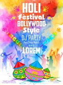 stock photo of colorful banner  - illustration of DJ party banner for Holi celebration - JPG