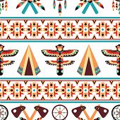 pic of nativity scene  - Decorative american indian ethnic border tapestry embroidery or interior scene appearance traditional native design abstract vector illustration - JPG