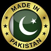 image of pakistani  - Made in Pakistan gold badge and icon with central glossy Pakistani flag symbol and stars - JPG
