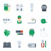 pic of electrician  - Electricity icon flat set with electrician tools plug pliers isolated vector illustration - JPG