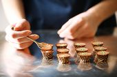 picture of chocolate spoon  - Preparation handmade chocolate candies - JPG