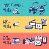 picture of mass media  - Mass social media entertainment horizontal hand drawn banner set isolated vector illustration - JPG