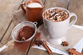 image of cinnamon  - Cup of hot coffee with marshmallow and cup of milk with cinnamon - JPG