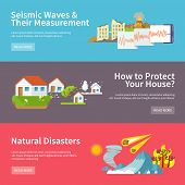 foto of hurricane wind  - Natural disaster horizontal banners set with seismic waves measurement house protect elements isolated vector illustration - JPG