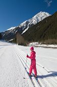 foto of nordic skiing  - Portrait of cute little girl cross - JPG