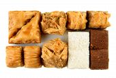 picture of baklava  - Variety of Turkish baklava on a white background - JPG