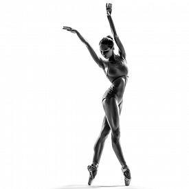 stock photo of ballerina  - female dancer ballerina posing on white isolated studio background - JPG