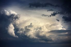 pic of hurricane wind  - Dramatic sky with stormy clouds before rain and thunderstorm - JPG