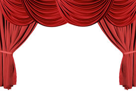 picture of curtains stage  - isolated red draped stage theater curtains background - JPG