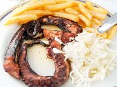 image of octopus  - Greek style grilled octopus with cabbage and chips - JPG