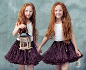 picture of sisters  - Two beautiful twin sisters - JPG