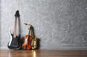 stock photo of saxophones  - Electric guitar - JPG