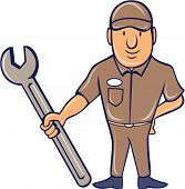 stock photo of attention  - Illustration of a mechanic wearing hat standing in attention holding a giant spanner wrench viewed from the front set on isolated white background done in cartoon style - JPG