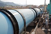 picture of sewage  - Large water pipe in a sewage treatment plant - JPG
