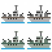 picture of battleship  - illustration vector isolate icon pixel art battleship - JPG