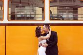 picture of tram  - Capture of Bride and groom near tram - JPG