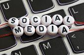 pic of keyboard  - Social media letter beads on laptop keyboard keyboard concept for social networking - JPG