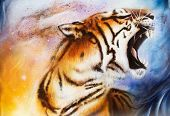 stock photo of animal teeth  - painting tiger painting collage on abstract background wildlife animals - JPG