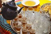 stock photo of nomads  - Hot tunisian traditional tea on the tray in the cafe - JPG