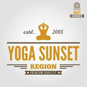 Vintage logo, badge, emblem or logotype elements for yoga club poster