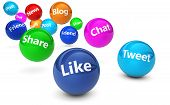 pic of bouncing  - Web and Internet concept with social media and social network signs and words on bouncing colorful spheres isolated on white background - JPG