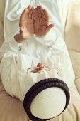 stock photo of arab man  - Elderly Muslim Arabic man praying - JPG