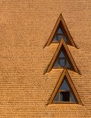 picture of gable-roof  - Windows on a wood shingle roof  - JPG
