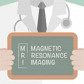 stock photo of mri  - minimalistic illustration of a doctor holding a blackboard with MRI term explanation - JPG