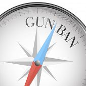 foto of bans  - detailed illustration of a compass with gun ban text - JPG