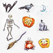 picture of broom  - Hand drawn set of Halloween objects - JPG