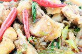 picture of catfish  - Thai food name Spicy Fried Stir Catfish - JPG