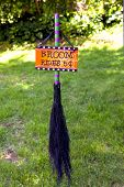 stock photo of broom  - A witches broom offering rides for halloween - JPG