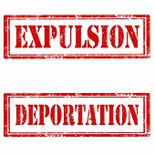 foto of deportation  - Set of grunge rubber stamps with text Expulsion and Deportation - JPG