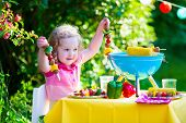 image of corn  - Children grilling meat - JPG
