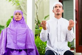 stock photo of muslim man  - Asian Muslim couple - JPG