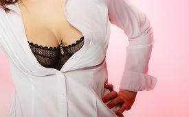 stock photo of big-girls  - Beautiful breast girls in black bra - JPG