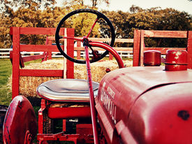 foto of hayride  - The tractor sits silently awaiting a hayride - JPG