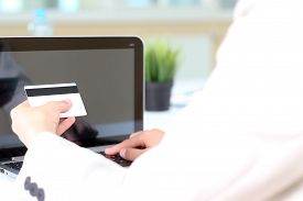 picture of payment methods  - Young business woman entering data of a credit card  - JPG