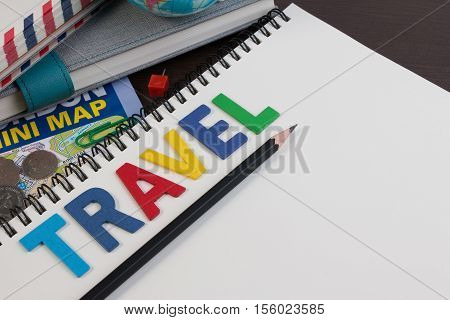 poster of Travel Planning With Travel Word Alphabet. Template With Planning Items On Traveler Workplace. Plann