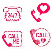 vector sex call service  line or love call icons